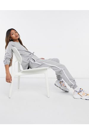 ASOS Tracksuit sweatshirt / basic trackies with contrast binding in organic cotton in grey marle
