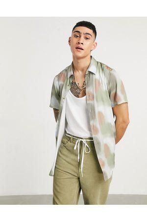 ASOS Regular block standard collar satin abstract geo print shirt in green