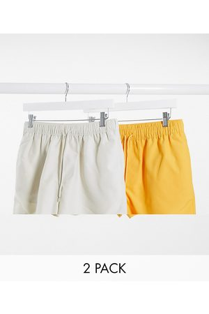 ASOS 2 pack swim shorts in beige and yellow short length save-Multi