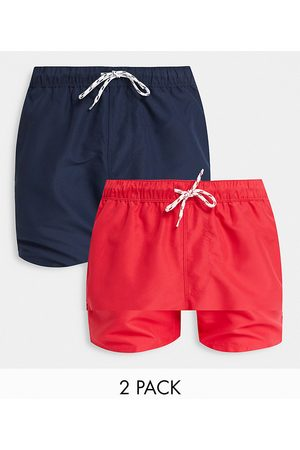 ASOS 2 pack swim shorts in navy & red mid length save-Multi
