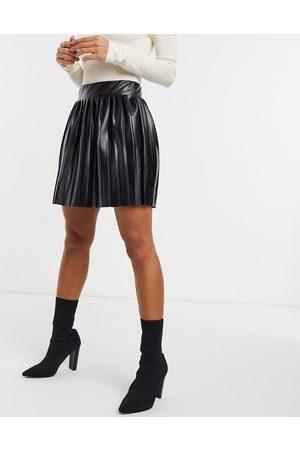 ASOS Leather-look mini pleated tennis skirt in black