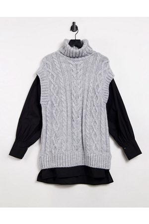 River Island Cable knit hybrid shirt tunic top in grey
