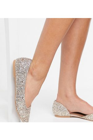 ASOS Wide Fit Virtue d'orsay pointed ballet flats in glitter-Gold
