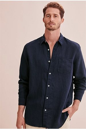 COUNTRY ROAD Long Sleeve Organically Grown Linen Shirt - Navy