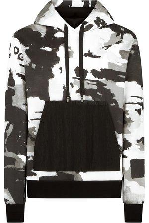Dolce & Gabbana Men Hoodies - Camouflage-pattern V-neck hoodie