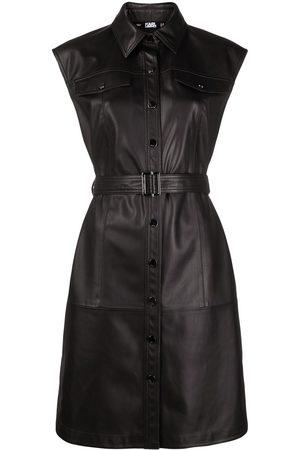 Karl Lagerfeld Women Sleeveless Dresses - Sleeveless belted mini dress