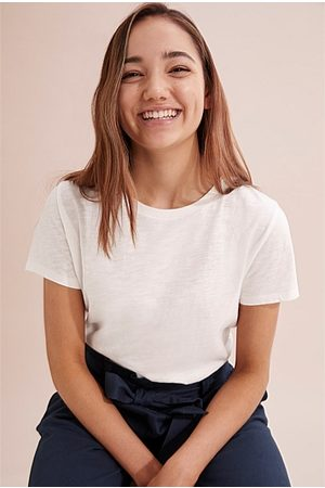 COUNTRY ROAD Teen Recycled Cotton Basic T-Shirt - Marshmallow