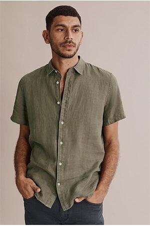 COUNTRY ROAD Regular Overdyed Organically Grown Linen Shirt - Khaki