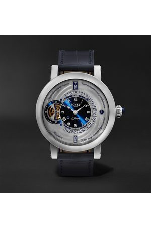 BOVET Men Watches - Récital 21 Limited Edition Hand-Wound Perpetual Calendar 44.4mm Titanium and Croc-Effect Leather Watch, Ref. No. R210002