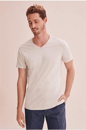 COUNTRY ROAD Men Short Sleeve - Pima V-Neck T-Shirt - Oatmeal Marle