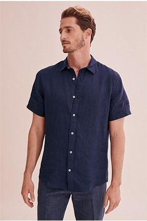 COUNTRY ROAD Short Sleeve Regular Organically Grown Linen Shirt - Navy