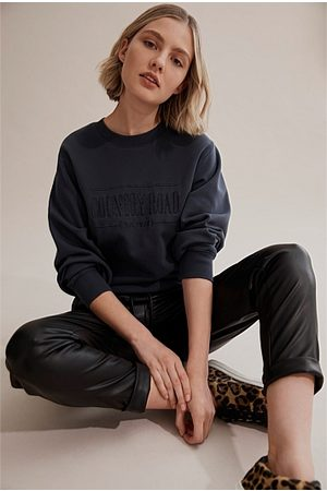 COUNTRY ROAD Women Sweatshirts - Verified Australian Cotton Heritage Sweat - Navy