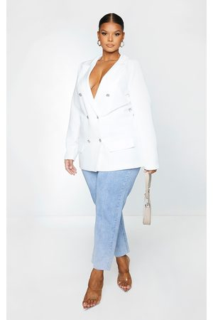PRETTYLITTLETHING Plus Oversized Button Detail Blazer