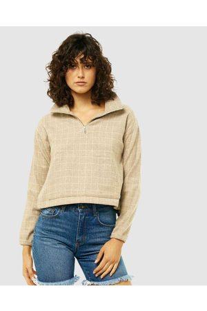 Rusty Women Hoodies - Upper East Half Zip Comfy Fleece - Sweats & Hoodies (LFN) Upper East Half-Zip Comfy Fleece