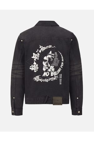 Evisu Men Denim Jackets - Hannya Skull Print Denim Jacket