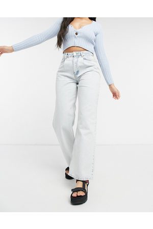 ASOS Organic high rise 'relaxed' dad jeans with pleat front in acid wash-Blue