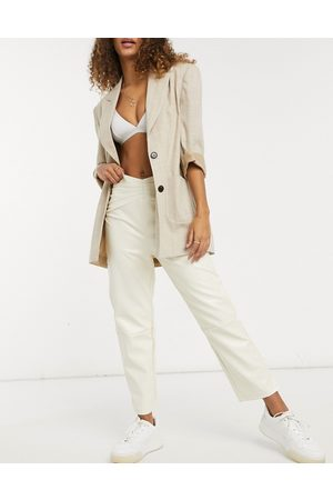 Fashion Union Straight leg pants with waist seam detail in faux leather-White