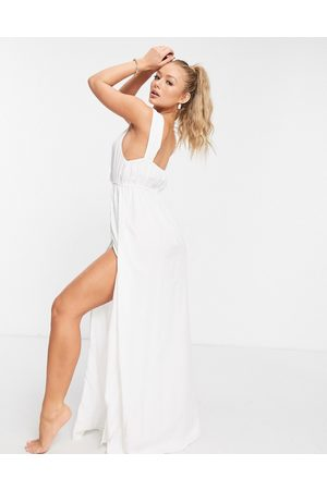 ASOS Recycled knot strap maxi beach dress in white