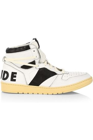 Rhude Logo Leather High-Top Sneakers