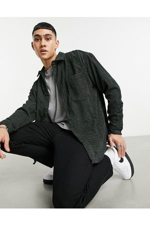 ASOS 90s oversized shirt in irregular textured cord in washed black-Grey