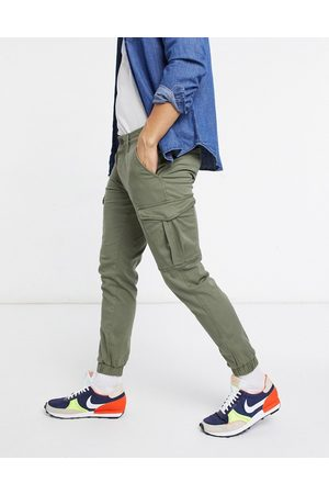 Jack & Jones Intelligence cargo pants with cuff in khaki-Green