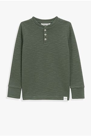 COUNTRY ROAD Organically Grown Cotton Slub Texture Henley - Forest