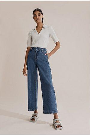 COUNTRY ROAD Australian Cotton Wide Leg Jean - Dark Indigo