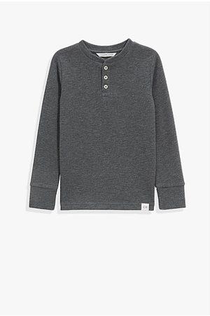 COUNTRY ROAD Boys Short Sleeve - Organically Grown Cotton Slub Texture Henley - Charcoal Marle