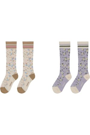 PAADE Girls Socks - 2 pairs of floral cotton-blend socks