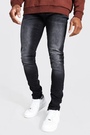 Boohoo Mens Washed Tapered Stacked Leg Jean With Ankle Zips