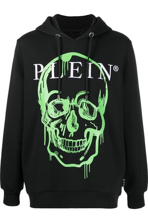 Philipp Plein Men Hoodies - Crystal-embellished skull print hoodie