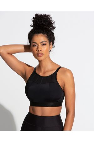 Pour Moi Fuller Bust Energy high neck padded non- wired sports bra in black