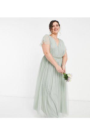 ANAYA Anaya With Love Plus Bridesmaid tulle cap sleeve maxi dress in sage-Green