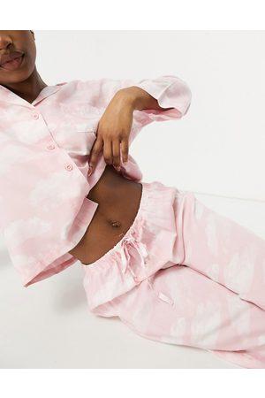 ASOS 100% modal cloud shirt & pant pyjama set in pink