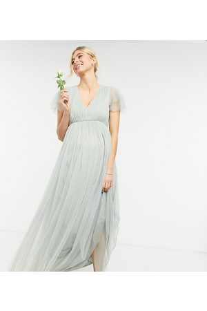 Anaya Maternity Anaya With Love Maternity Bridesmaid tulle cap sleeve maxi dress in sage-Green