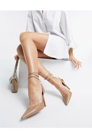 ASOS Pally tie leg high heeled shoes in camel-Beige