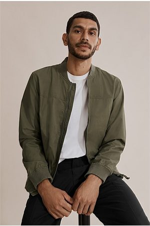 COUNTRY ROAD Men Bomber Jackets - Washed Bomber Jacket - Moss
