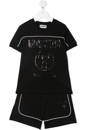 Moschino Boys Tracksuits - Wet-look logo print tracksuit set