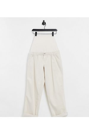 ASOS ASOS DESIGN Maternity slouchy chino pants in cream with over the bump band