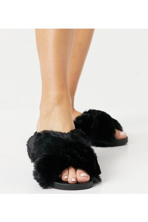 ASOS Wide Fit Fiona fluffy crossover sliders in black