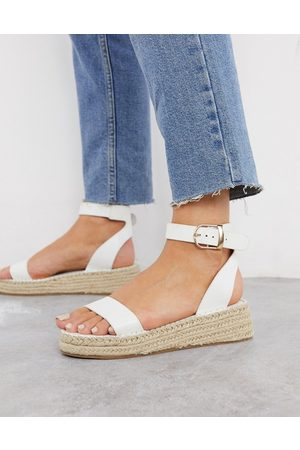 South Beach Two part espadrilles in white croc