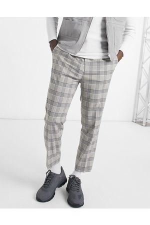 ASOS Tapered smart pants in stone check
