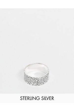 ASOS DESIGN Sterling silver band ring with texture in silver