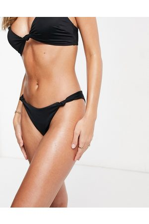 ASOS Recycled mix and match knot high leg hipster bikini bottom in black