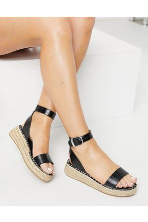 South Beach Two part espadrilles in black croc