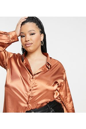 In The Style Exclusive satin oversized shirt in rust-Orange