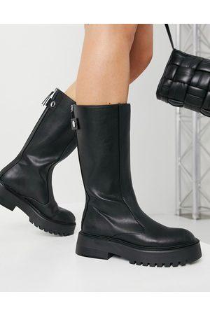 Bershka Faux leather gumboots in black
