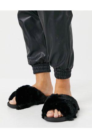 ASOS Fiona fluffy crossover sliders in black