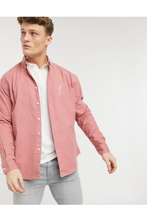ASOS 90s oversized oxford shirt with embroidery chest logo in raspberry-Red