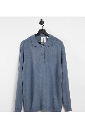 COLLUSION Knitted ribbed polo jumper in grey